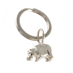 Sterling Silver Hippo Keyring